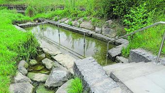 Wenig Wasser in der Bünzer Kneipp-Anlage.