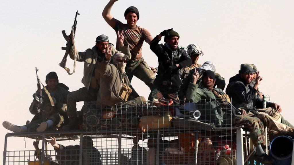 Mitglieder einer schiitischen Miliz westlich von Mossul (Archiv)