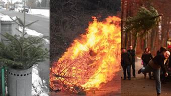 Weihnachtsbäume zu entsorgen, geht auf verschiedene Arten. Man kann auch einen Event daraus machen.