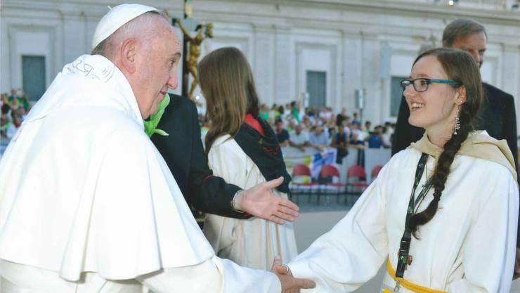 Vanessa Furrer aus Entfelden durfte Papst Franziskus treffen.
