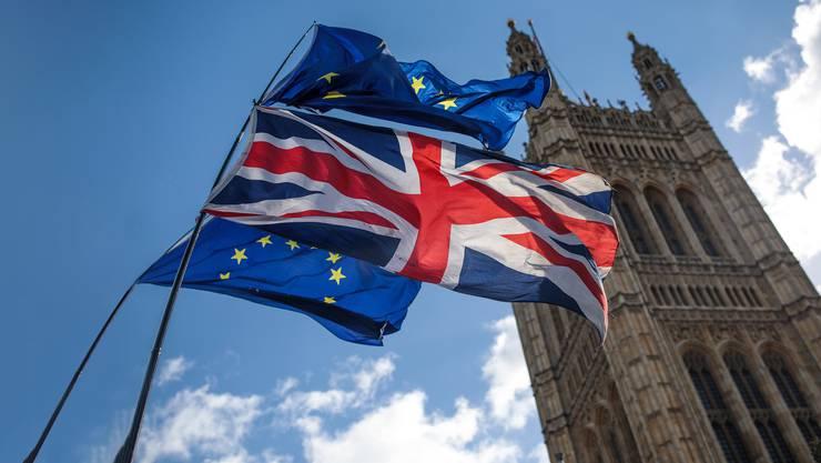 Sturm vor dem Parlament in London: Der Union Jack und die EU-Flagge der Brexit-Gegner zappeln im Wind, drinnen rauchen die Köpfe der Parlamentarier.