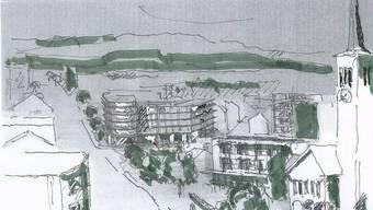 Architekt Stefan Sieboth malte ein Aquarell der geplanten Überbauung.