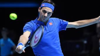 Mit dem Satzgewinn gegen Kevin Anderson hat Roger Federer den Halbfinal-Einzug bereits geschafft