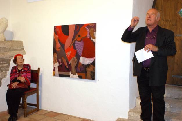 Vernissagenredner Roy Oppenheim mit der Künstlerin Simone Bonzon