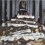 """Das Gemälde """"Weihnachtsfest in Rom"""" (1988) ist Teil der Ausstellung """"Friedrich Dürrenmatt - Das grosse Festmahl"""" im Centre Dürrenmatt in Neuenburg. Die Schau dauert bis 22. März 2020."""