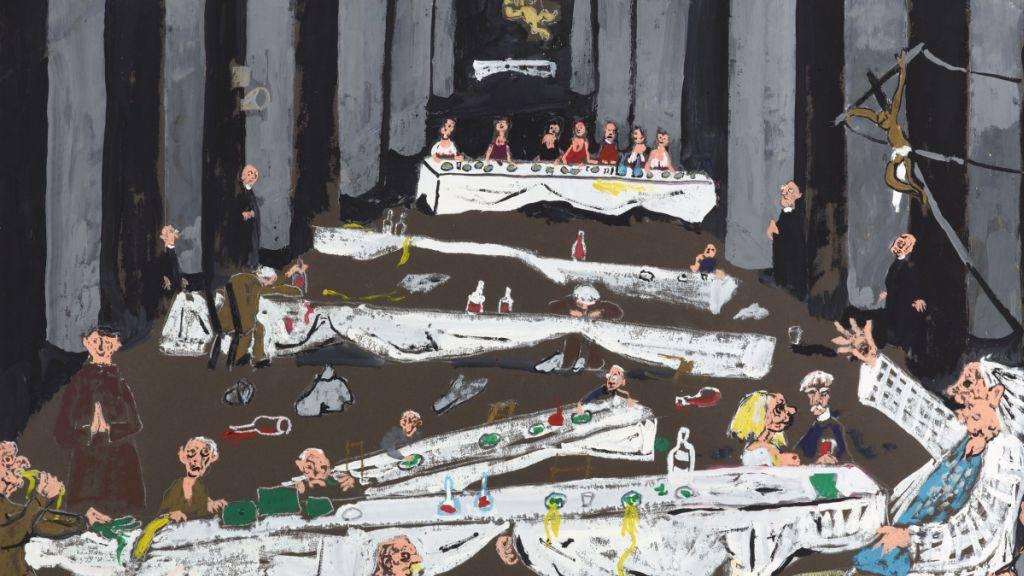 Das Gemälde «Weihnachtsfest in Rom» (1988) ist Teil der Ausstellung «Friedrich Dürrenmatt - Das grosse Festmahl» im Centre Dürrenmatt in Neuenburg. Die Schau dauert bis 22. März 2020.