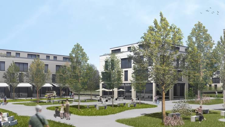Visualisierung des künftigen Dorfzentrums mit dem Dorfplatz.