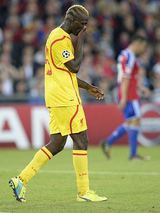 Liverpools «enfant terrible» Mario Balotelli ist nach der Niederlage in Basel enttäuscht
