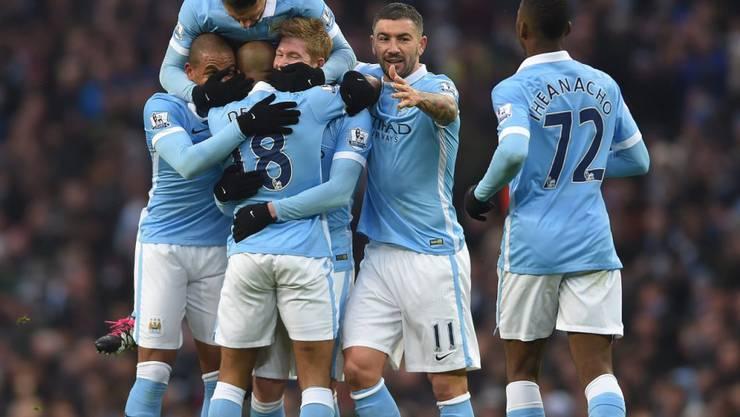 Grosser Jubel bei Manchester City nach dem Führungstreffer gegen Crystal Palace