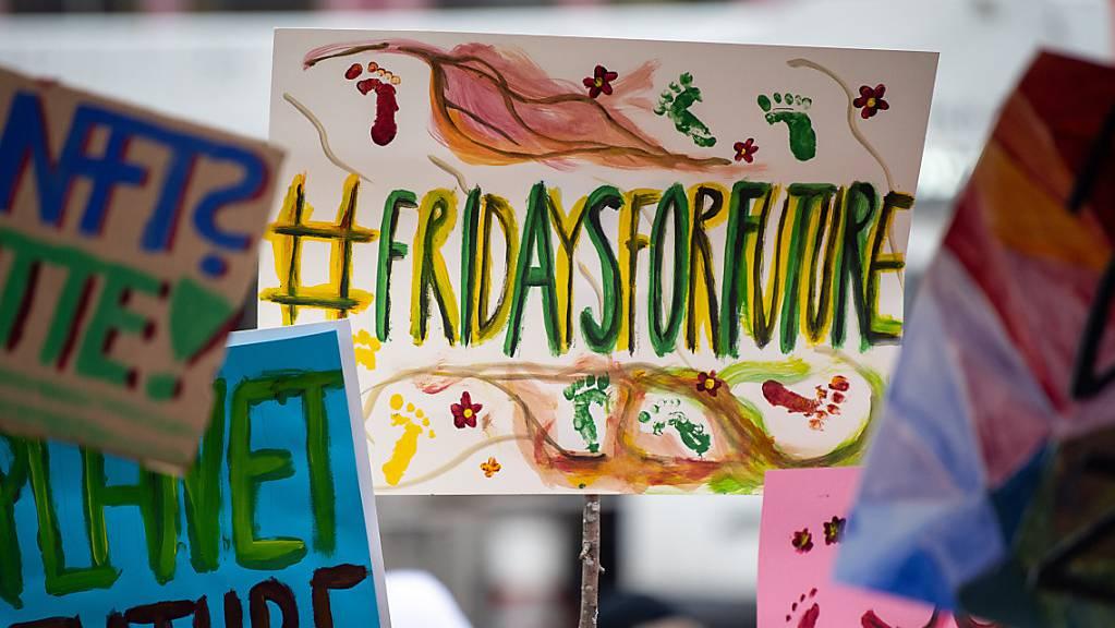 Demonstranten während einer Demonstration von Schülern gegen den Klimawandel mit Protestschildern. (Archiv)