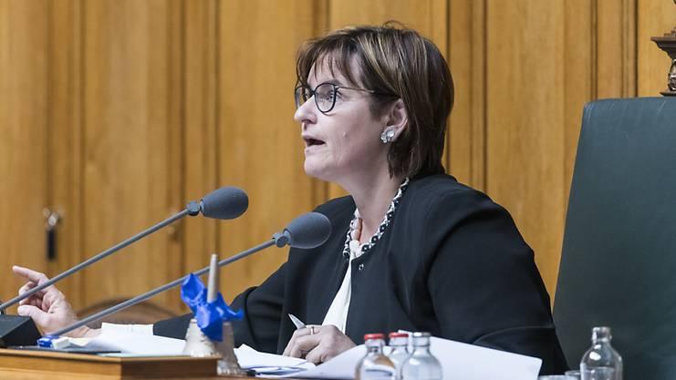 Nationalratspräsidentin Marina Carobbio eröffnet die Vereinigte Bundesversammlung.