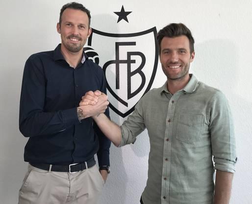 Vor etwas mehr als einem Jahr wurde Raphael Wicky (rechts) von der neuen FCB-Führung rund um Sportchef Marco Streller (links) als Ideallösung präsentiert. Nun folgte die Entlassung.