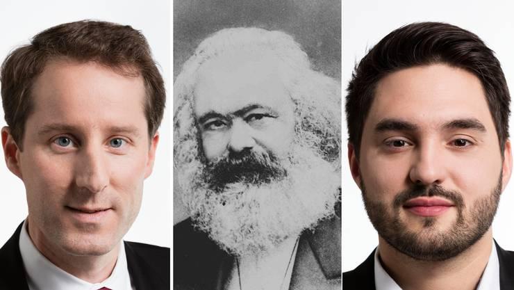 Thomas Aeschi, Karl Marx und Cédric Wermuth.