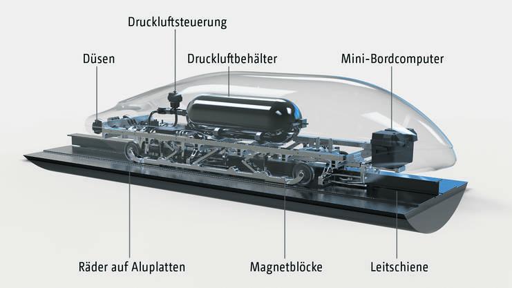 In einer Kapsel wie dieser sollen künftig 14 bis 20 Personen in 35 Minuten von Zürich nach Berlin reisen können.