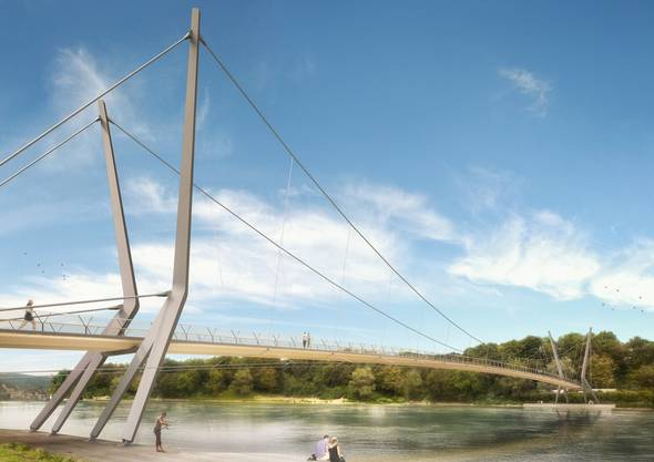 Visualisierung des Rheinstegs: Sind die Seile, die zur Tragkonstruktion gehören, Fallen für diese Vögel? (zvg)