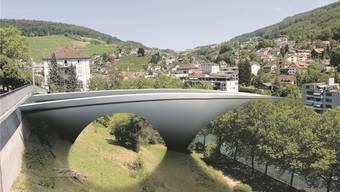 So könnte sich eine Limmatbrücke vom Casino-Kreisel hinüber nach Ennetbaden präsentieren.