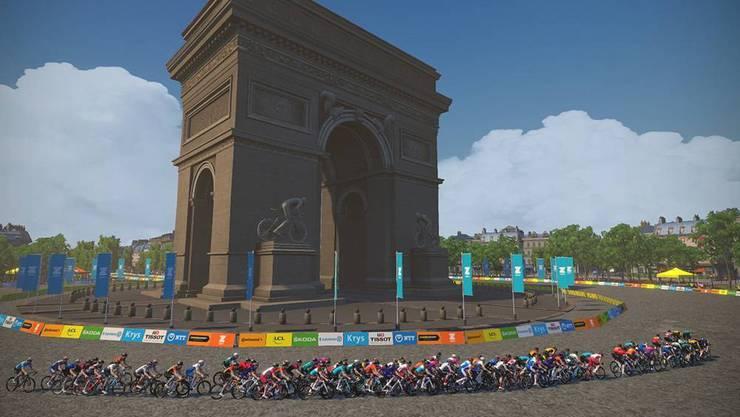 Triumphbogen in Paris: So sah die erste virtuelle Tour de France aus.