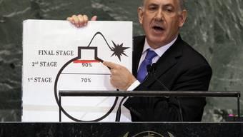 Der israelische Ministerpräsident Benjamin Netanjahu warnt in New York vor einer iranischen Atombombe