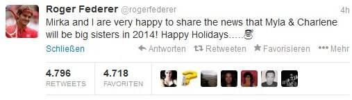 Roger Federers Tweet zum Geschwisterchen der Zwillinge