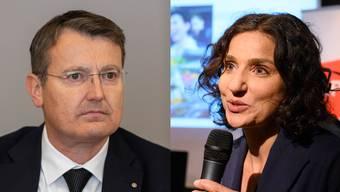 Thomas Burgherr (SVP) und Gabriela Suter (SP) haben unterschiedliche Vorstellungen, wenn es um Corona-Spenden geht.