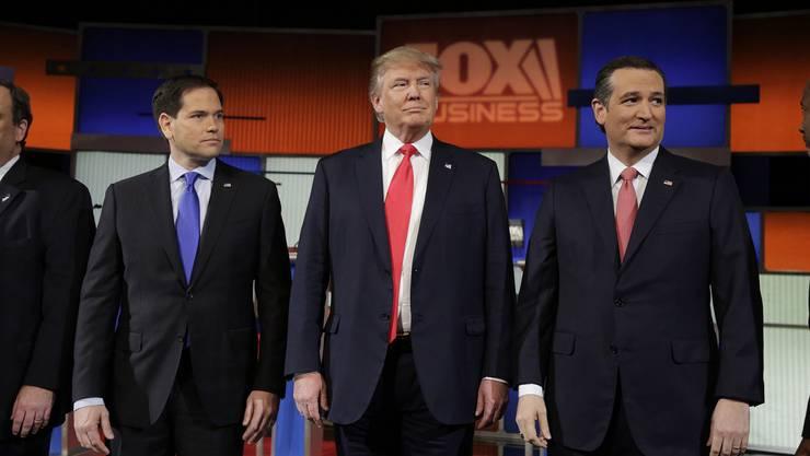Sie erhalten von Schweizer Firmen am meisten Spendengelder: Die Rebublikaner Marc Rubio, Donald Trump und Ted Cruz (v.l.)