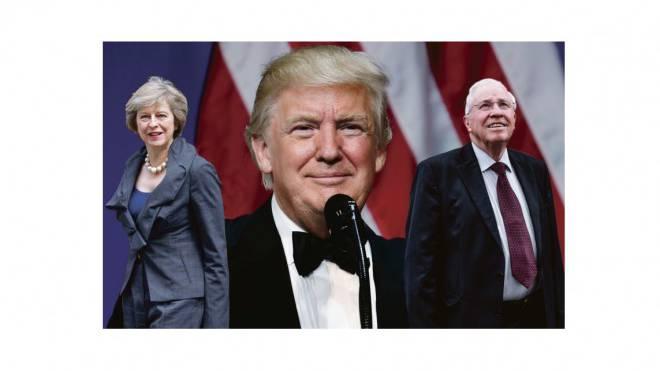 Die britische Premierministerin Theresa May nimmt Abschied von der Personenfreizügigkeit – das möchte auch Christoph Blocher (r). Eine radikale Einwanderungspolitik will US-Präsident Donald Trump. Foto: Montage SAS