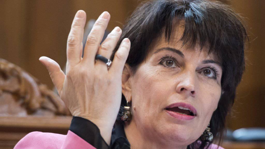 """Bundespräsidentin Doris Leuthard hat den Anschlag in Stockholm verurteilt. """"Ich bin bestürzt und betroffen"""", heisst es in ihrer über Twitter verbreiteten Botschaft. (Archivbild)"""