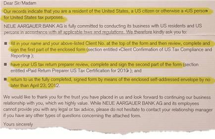 Auszug aus dem Brief der Neuen Aargauer Bank.