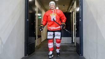 Grinsen im Nati-Dress: Das Selbstvertrauen und die gute Laune hat sich Damien Brunner trotz enttäuschender Saison bewahrt.