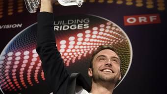 Mans Zelmerlöw am Sonntag während einer Medienkonferenz nach Ende des 60. Eurovision Song Contest in der Stadthalle in Wien