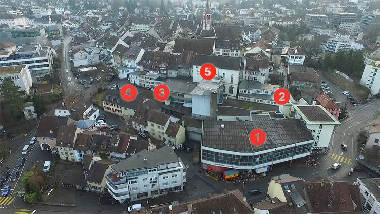 Das Ziegelhof-Areal unmittelbar neben Liestals Altstadt aus Drohnensicht: Bei den mit Nummern versehenen Objekten bewegt sich etwas – oder aber eben nicht.