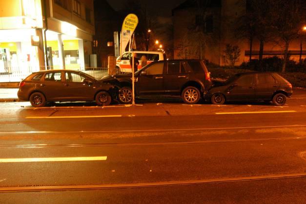 Die drei beschädigten Autos.