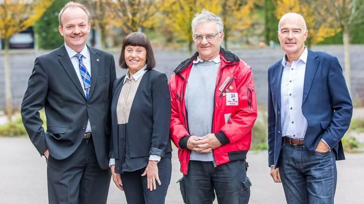 Von links nach rechts: Lukas Hürlimann (GastroAargau), Rita Brühlmann (Grand Casino Baden), Heinz Fehlmann (Nez Rouge Aargau), Ruedi Suter (Berufsschule Lenzburg)