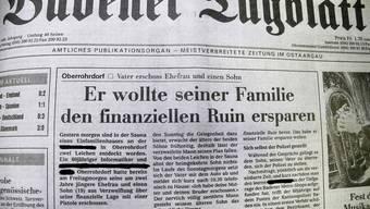 So titelte das BT am Montag, 17. Juni 1996, über das Familiendrama in Oberrohrdorf.