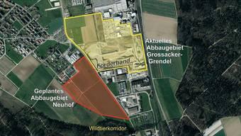 Die Kibag Kies Birr AG möchte den Materialabbau im Gebiet «Neuhof» weiterführen – unmittelbar beim bestehenden Standort «Grossacker-Grendel». zvg/BVU