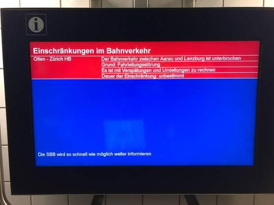 Der Bahnverkehr zwischen Aarau und Lenzburg ist unterbrochen.