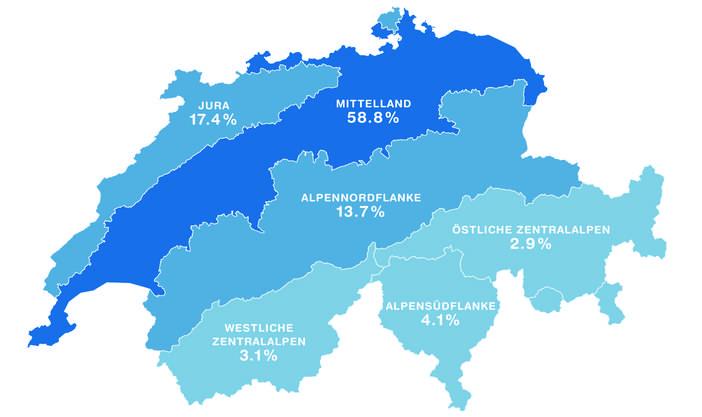Die biogeografische Verteilung der in der ZHAW-App verzeichneten Zeckenstiche der Jahre 2015 und 2016. Markant: Das Mittelland verzeichnet rund 59 Prozent der Stichmeldungen.