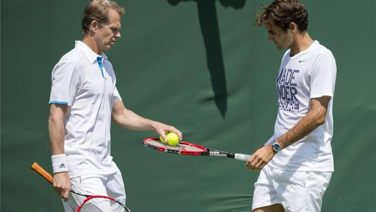Stefan Edberg (links) ist seit diesem Jahr wieder ein «freier» Mann, möchte die Zeit als Profitrainer von Roger Federer aber nicht missen.Keystone