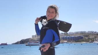 Steffi Vetterli am Strand von Sharm-el-Sheik