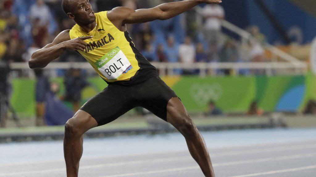 Usain Bolt in seiner Lieblingspose