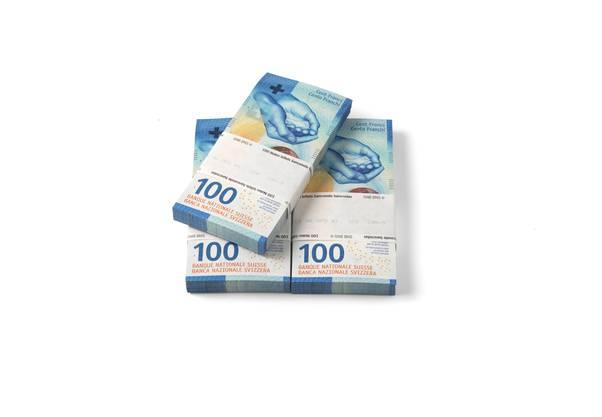 Notenbündel 100-Franken-Note, Vorderseite.