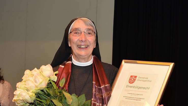 Schwester Liliane im April 2014, als sie die Ehrenbürgerschaft von Obersiggenthal erhalten hat.