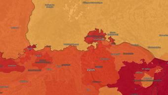Corona-Karte: Ein roter Fleck ragt ins mehrheitlich gelbe Deutschland. Es ist Schaffhausen.