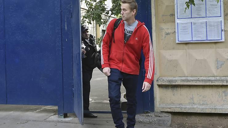 Der Kreml-Kritiker Alexej Nawalny wurde kurz vor Anpfiff zur Fussball-WM in Russland nach 30 Tagen aus dem Gefängnis entlassen.