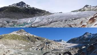 Der Rhonegletscher im Oberwallis fotografiert am 28. Juni 2007 und elf Jahre später am 28. Juni 2018 (unten).