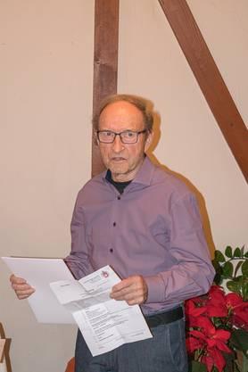 Er wurde für 50 Jahre Mitgliedschaft geehrt und bedankte sich mit einem kleinen Rückblick und einem Loblied auf die Sektion.