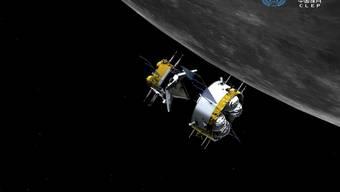 """Die Illustration der China National Space Administration zeigt Chinas """"Chang'e-5""""-Kapsel, wie sie heute Abend auf der Erde landen soll. Ihre Bergung ist wegen ihre geringen Grösse, der Dunkelheit und dem unpräzisen Landeort schwierig (zVg)"""
