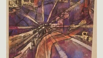 """Das Gemälde """"Street Lamp in Town"""" von Paul Klee ist neben Bildern seiner Künstlerkolleginnen und -kollegen bis 1. September in der Ausstellung """"Kandinsky, Arp, Picasso.... Klee & Friends"""" im Zentrum Paul Klee in Bern zu sehen."""