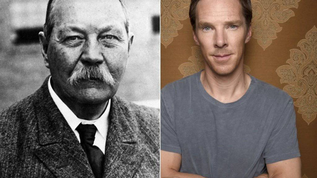 Sir Arthur Conan Doyle (l), der Verfasser der «Sherlock Holmes»-Geschichten ist  mit «Sherlock Holmes»-Darsteller Benedict Cumberbatch (r) verwandt: Sie sind Cousins 16. Grades. (Archivbilder)