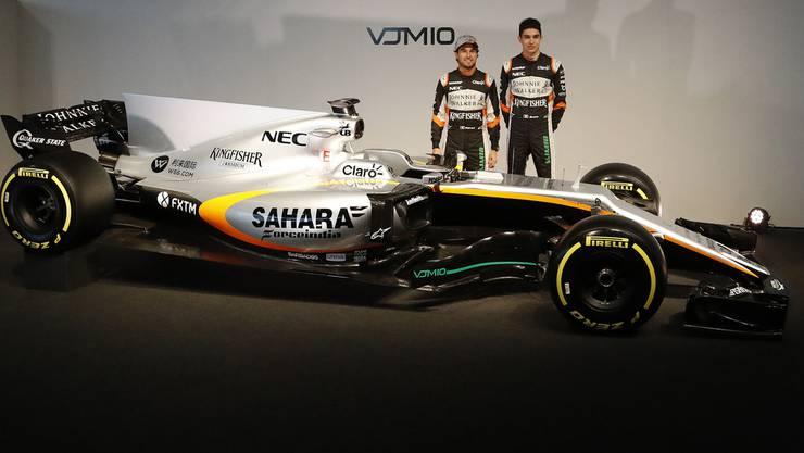 Der «alte» neue Bolide von Force India mit den Piloten Perez (l.) und Ocon (r.).